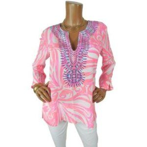 LILLY PULITZER M 100% SILK Blouse Summer Tunic